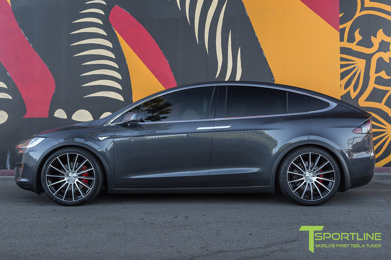 Midnight Silver Metallic Tesla Model X with Diamond Black 22 inch MX114 Forged Wheels