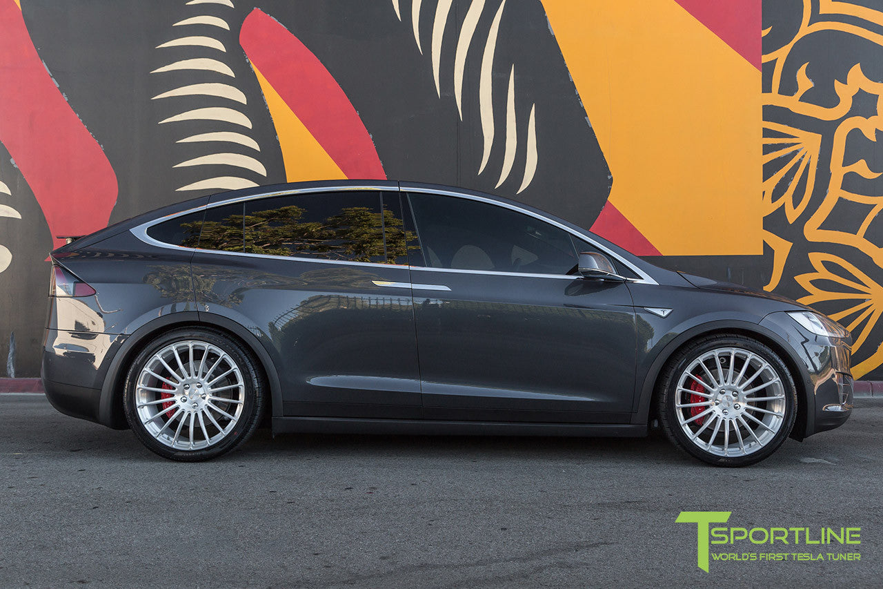 Midnight Silver Metallic Tesla Model X with Brush Satin 22 inch MX118 Forged Wheels
