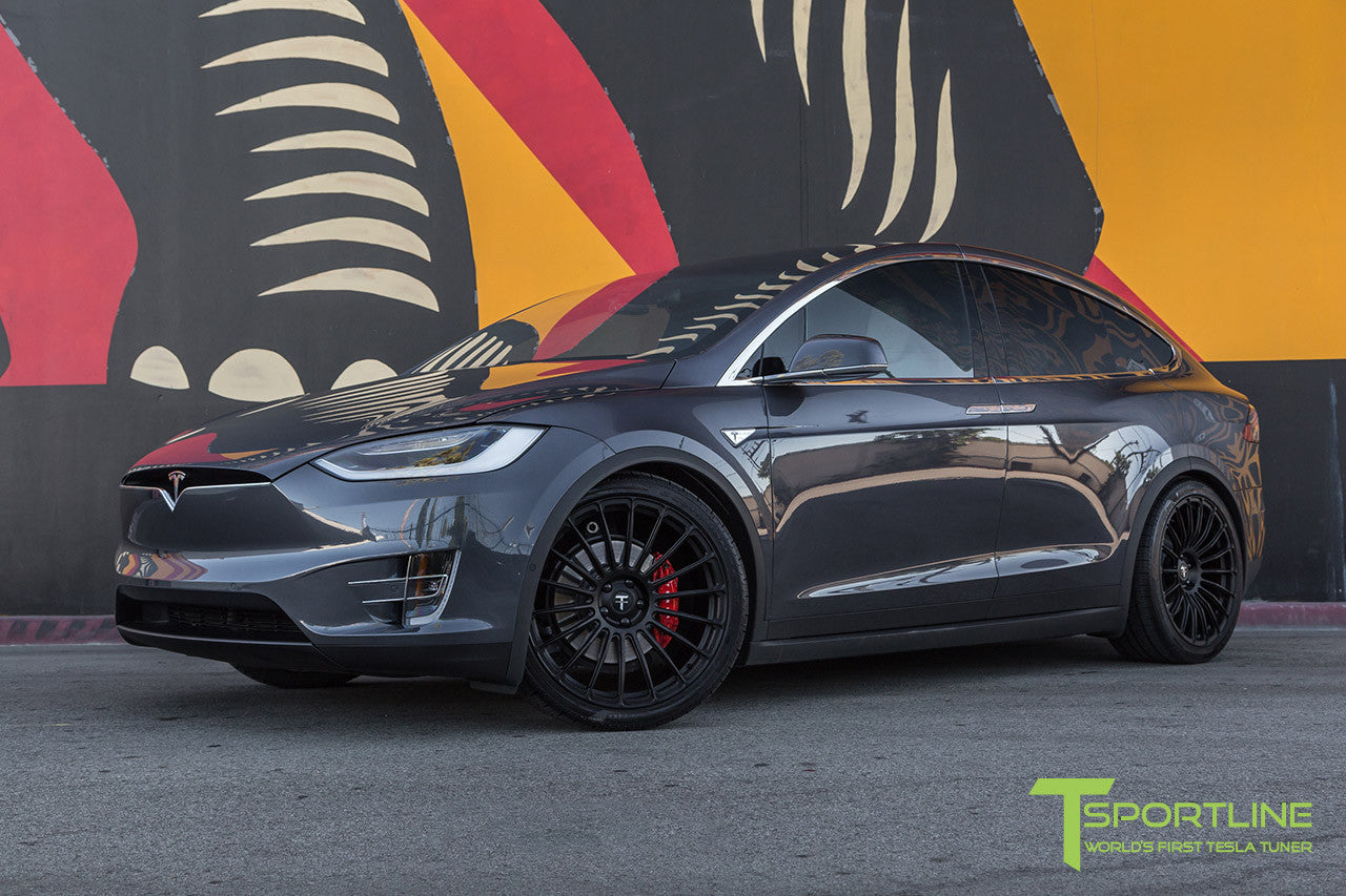 Midnight Silver Metallic Tesla Model X with Matte Black 22 inch MX118 Forged Wheels