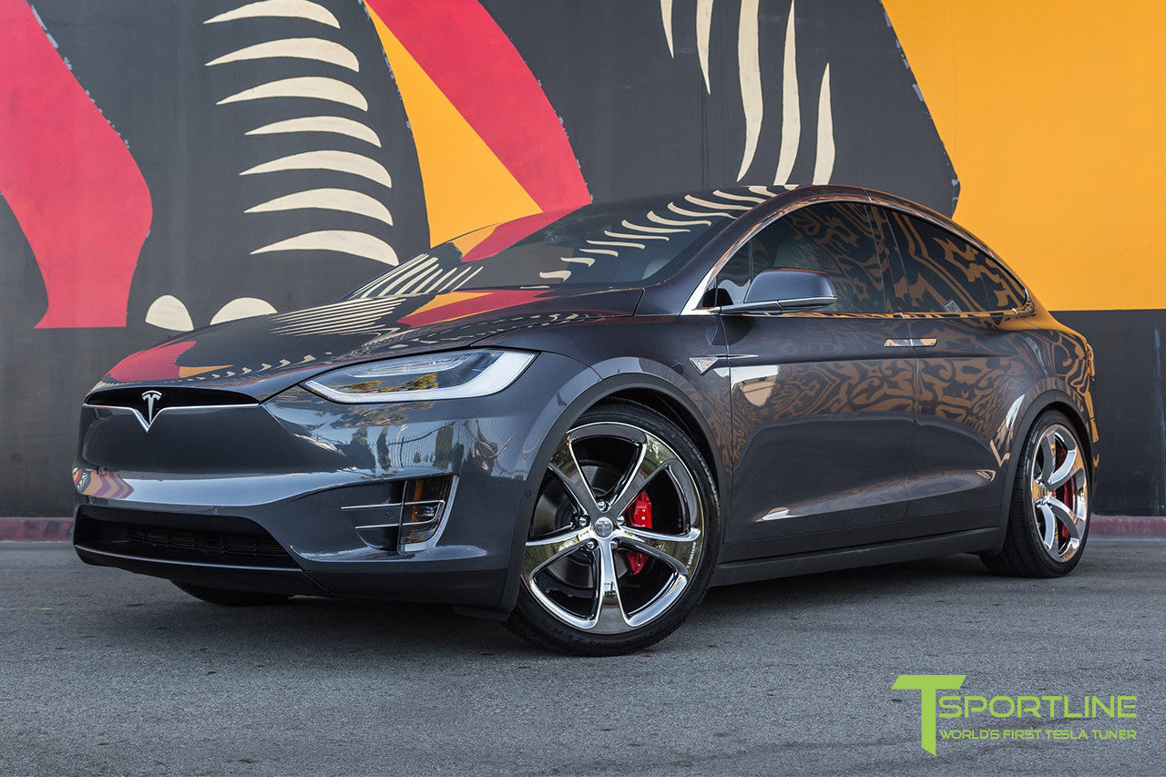Midnight Silver Metallic Tesla Model X with Chrome 22 inch MX5 Forged Wheels