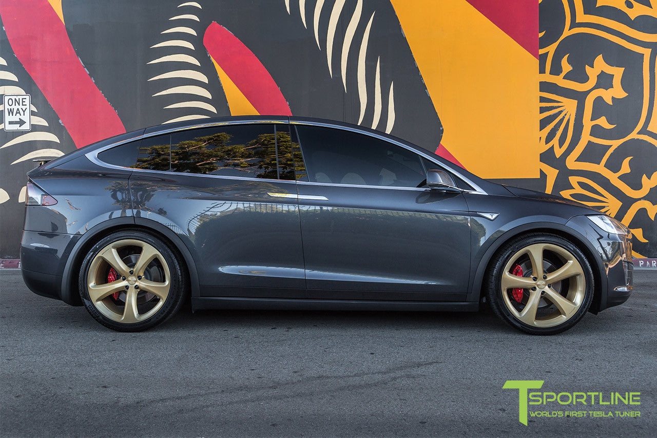 Midnight Silver Metallic Tesla Model X with Ghost Gold 22 inch MX5 Forged Wheels