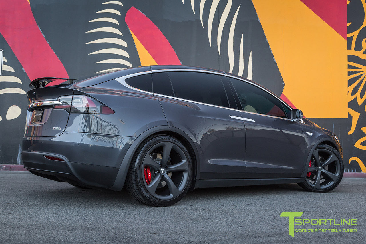 Midnight Silver Metallic Tesla Model X with Matte Grey 22 inch MX5 Forged Wheels