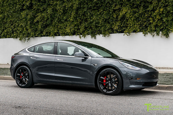 Midnight Silver Metallic Tesla Model 3 with Matte Black 19
