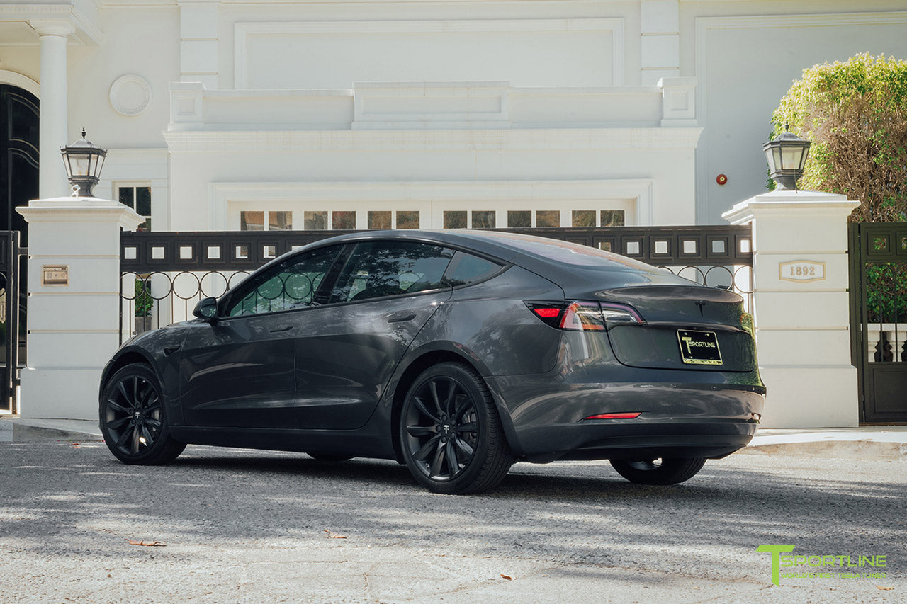 Midnight Silver Metallic Tesla Model 3 with Matte Black 19 inch TST Turbine Style Wheels and Chrome Delete by T Sportline 2