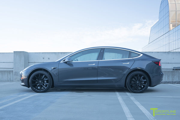 Midnight Silver Metallic Tesla Model 3 with Gloss Black 19 inch TST Turbine Style Wheels by T Sportline 3