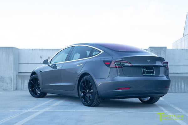 Midnight Silver Metallic Tesla Model 3 with Gloss Black 19 inch TST Turbine Style Wheels by T Sportline 2