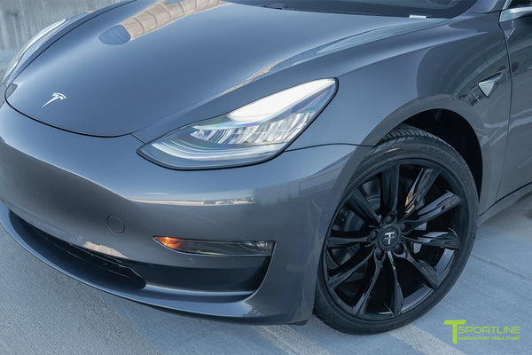 Midnight Silver Metallic Tesla Model 3 with Gloss Black 19 inch TST Turbine Style Wheels by T Sportline 1