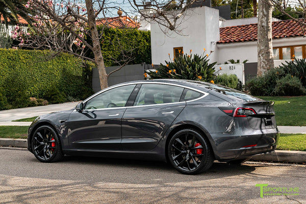 Midnight Silver Metallic Tesla Model 3 with Gloss Black 20