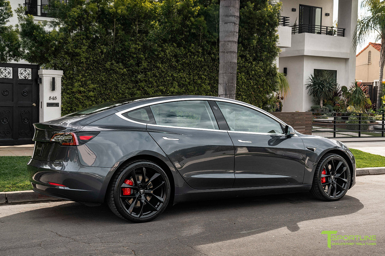 Midnight Silver Metallic Tesla Model 3 with Matte Black 20