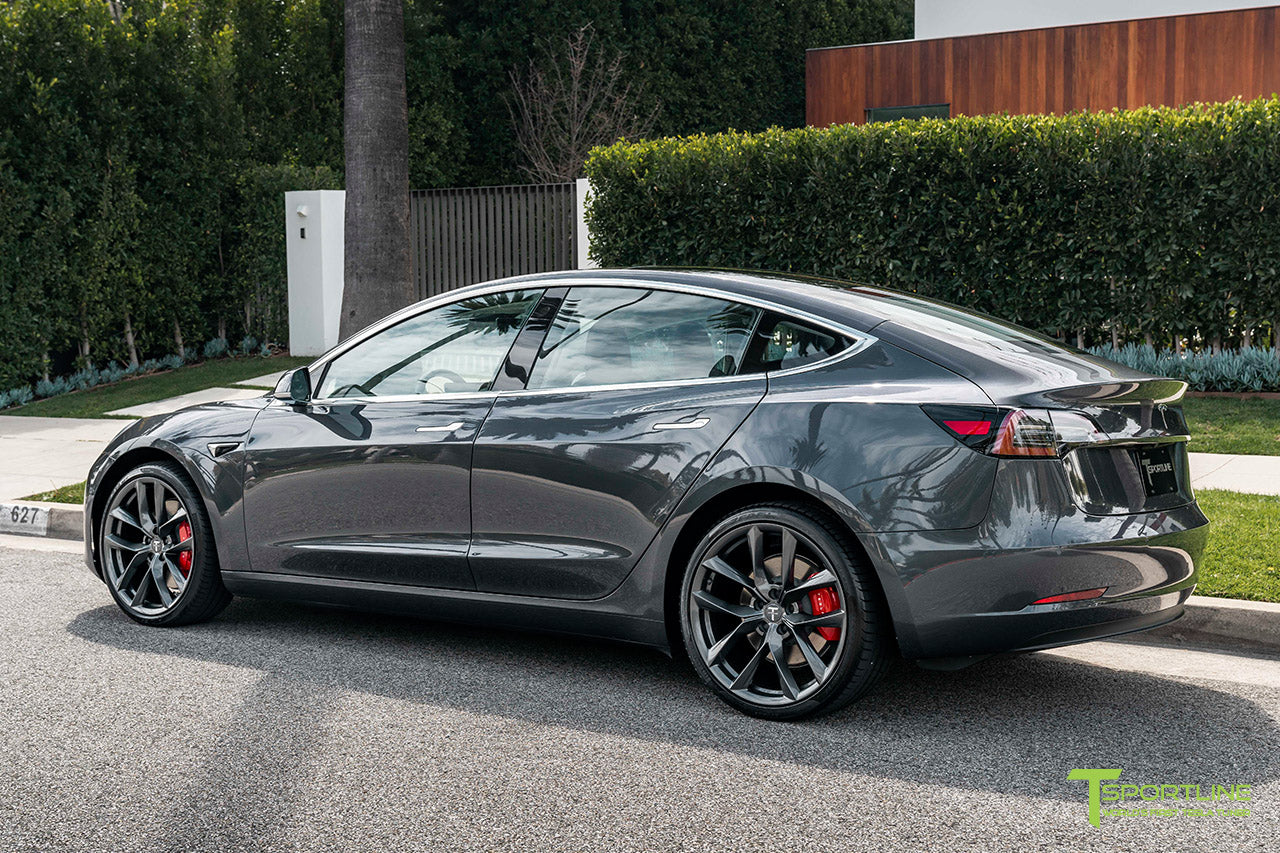 Midnight Silver Metallic Tesla Model 3 with Space Gray 20