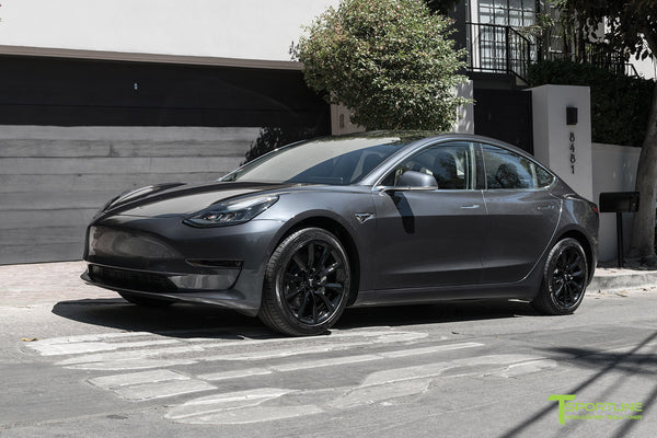 Midnight Silver Metallic Tesla Model 3 with Gloss Black 18 inch TST Turbine Style Flow Forged Wheels by T Sportline 4
