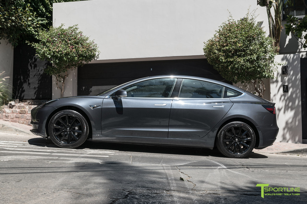 Midnight Silver Metallic Tesla Model 3 with Gloss Black 18 inch TST Turbine Style Flow Forged Wheels by T Sportline 3