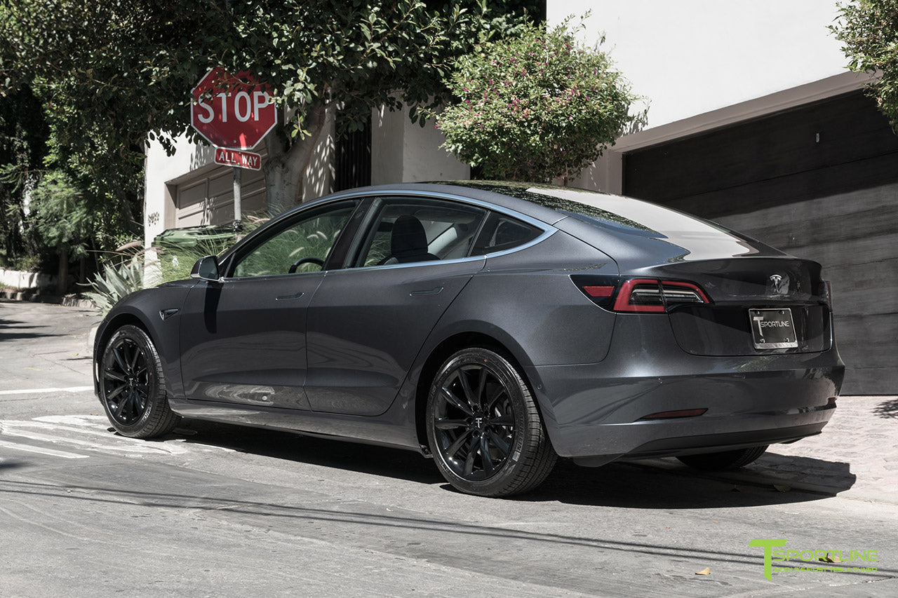 Midnight Silver Metallic Tesla Model 3 with Gloss Black 18 inch TST Turbine Style Flow Forged Wheels by T Sportline 2