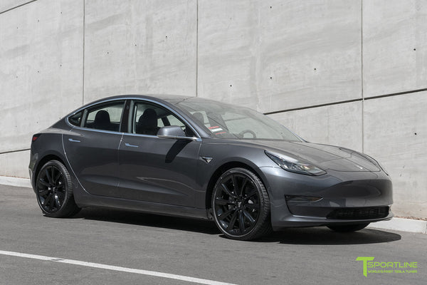 Midnight Silver Metallic Tesla Model 3 with Gloss Black 20 inch TST Turbine Style Wheels by T Sportline 4