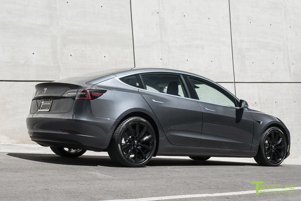 Midnight Silver Metallic Tesla Model 3 with Gloss Black 20 inch TST Turbine Style Wheels by T Sportline 2