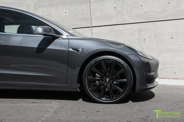 Midnight Silver Metallic Tesla Model 3 with Gloss Black 20 inch TST Turbine Style Wheels by T Sportline 1