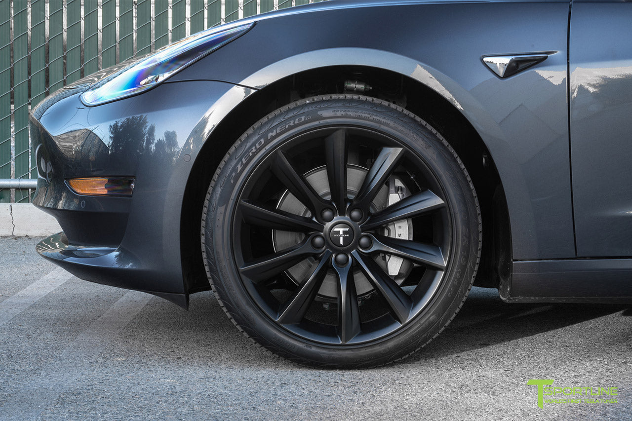 Midnight Silver Metallic Tesla Model 3 with Matte Black 19 inch TST Tesla Wheel by T Sportline