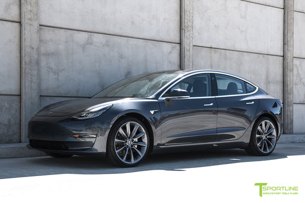 Midnight Silver Metallic Tesla Model 3 with Metallic Gray 20 inch TST Turbine Style Wheels by T Sportline 4