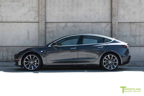 Midnight Silver Metallic Tesla Model 3 with Metallic Gray 20 inch TST Turbine Style Wheels by T Sportline 3