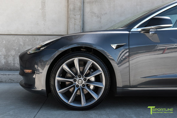 Midnight Silver Metallic Tesla Model 3 with Metallic Gray 20 inch TST Turbine Style Wheels by T Sportline 1