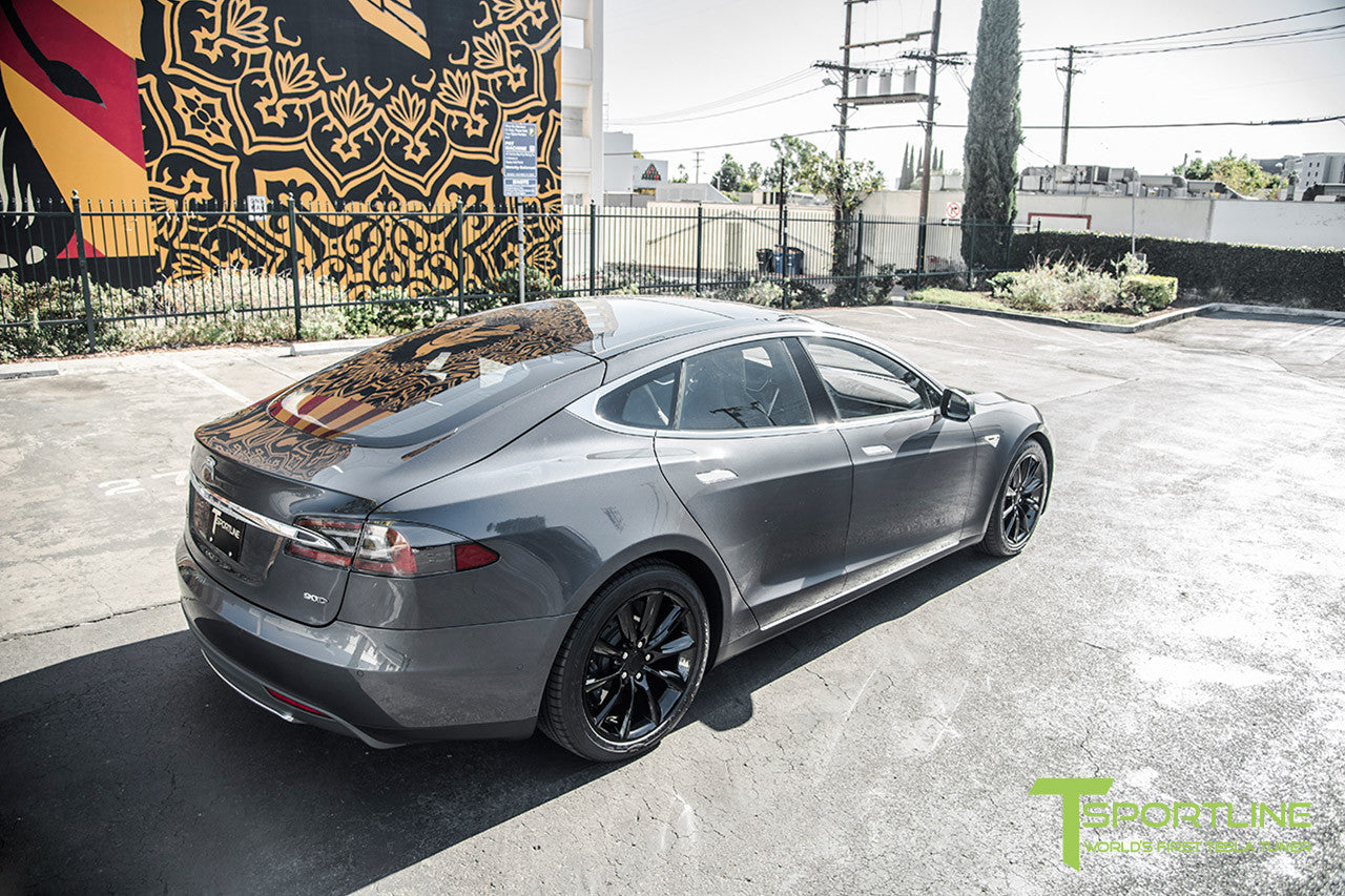 "Midnight Silver Metallic Model S 1.0 with 19"" TST Tesla Wheel in Gloss Black"
