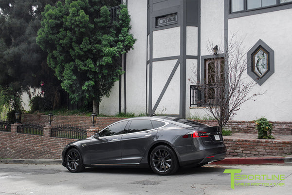 Midnight Silver Metallic Tesla Model S with Metallic Gray 19