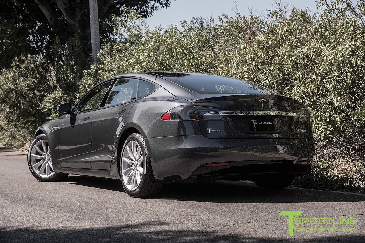"Midnight Silver Metallic Model S 2.0 with 19"" TST Tesla Wheel in Brilliant Silver"