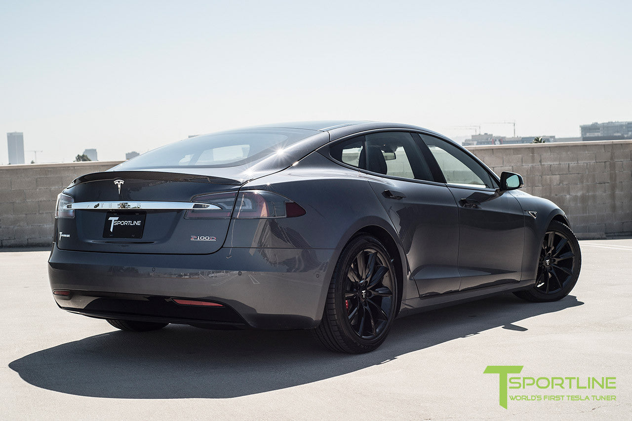 "Midnight Silver Metallic Model S 2.0 with 19"" TST Tesla Wheel in Gloss Black"