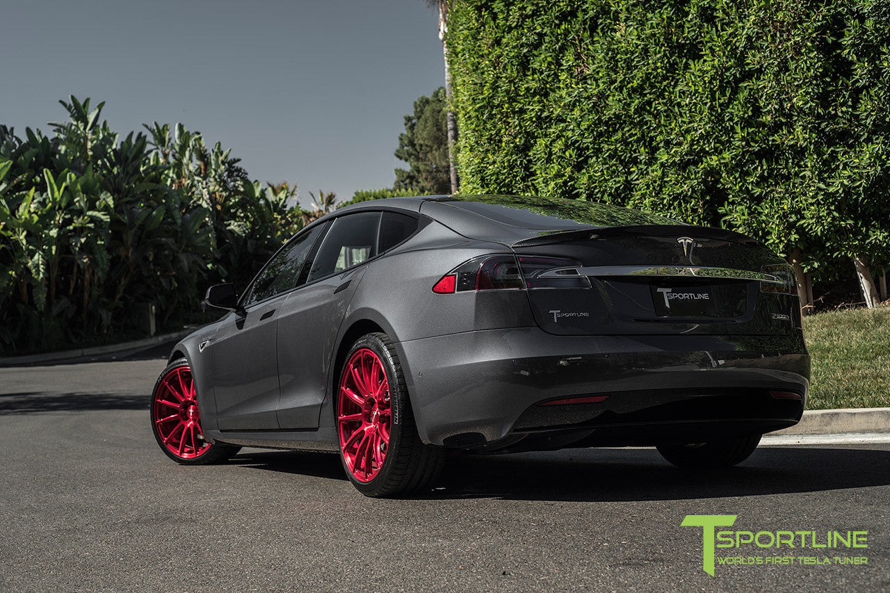 Midnight Silver Metallic Tesla Model S 2.0 with Velocity Red 21 inch TS112 Forged Wheels 1