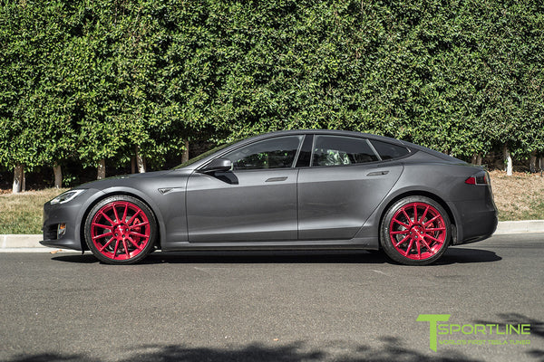 Midnight Silver Metallic Tesla Model S 2.0 with Velocity Red 21 inch TS112 Forged Wheels 2