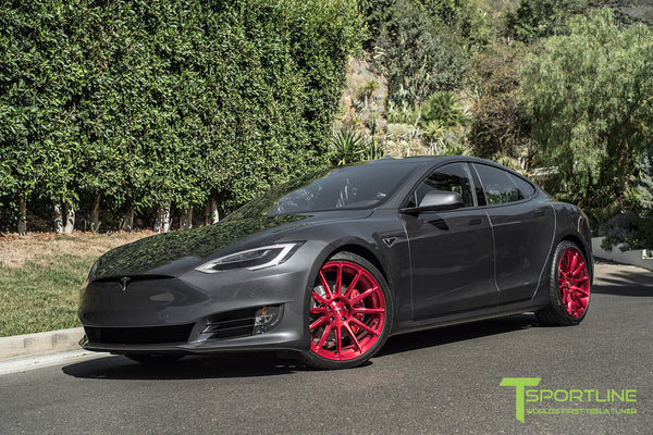 Midnight Silver Metallic Tesla Model S 2.0 with Velocity Red 21 inch TS112 Forged Wheels 3