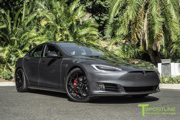 Midnight Silver Metallic Tesla Model S 2.0 with Gloss Black 21 inch TS115 Forged Wheels 3