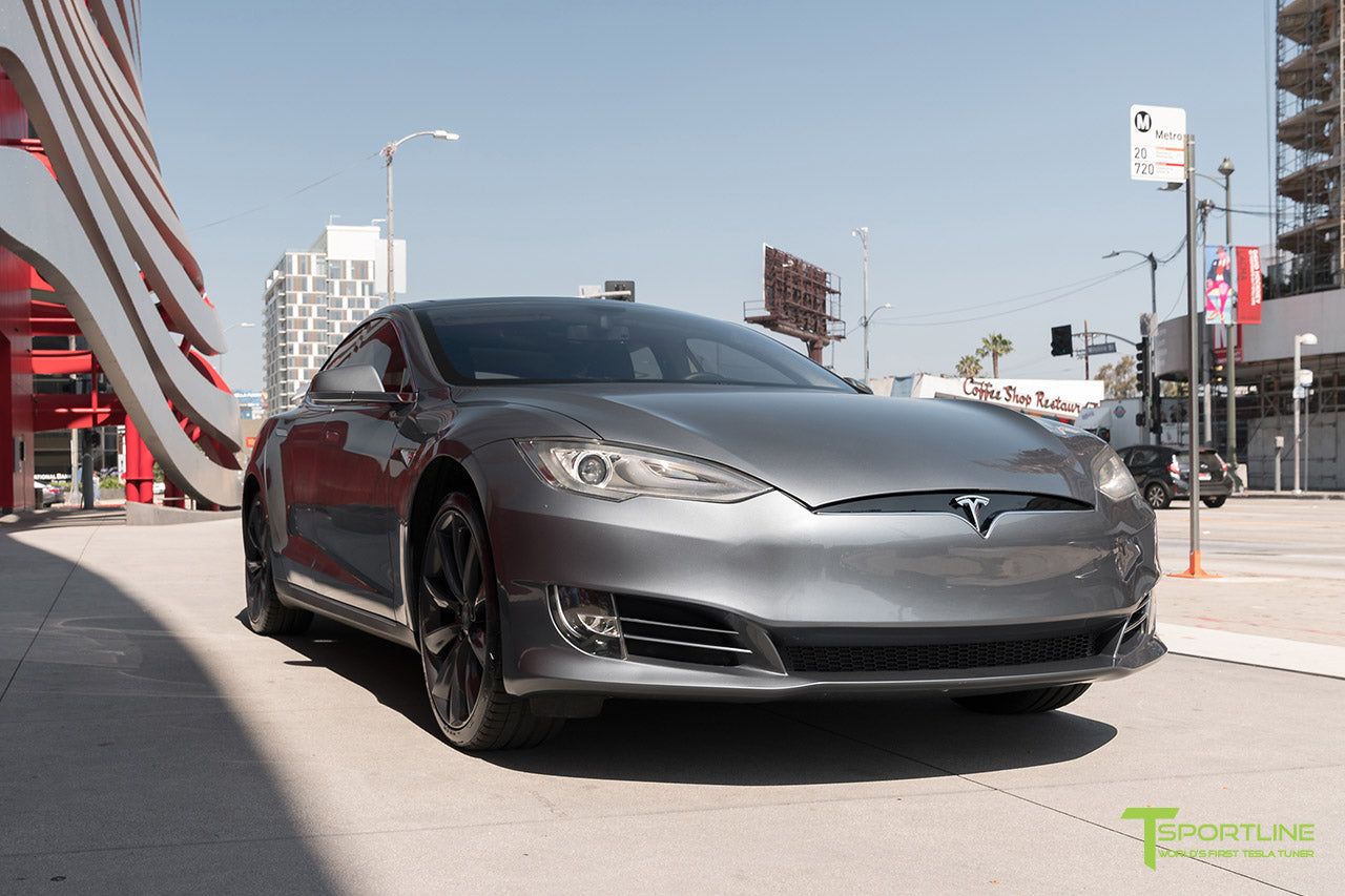 Midnight Silver Metallic Tesla Model S with Front Bumper Refresh Facelift Fascia by T Sportline