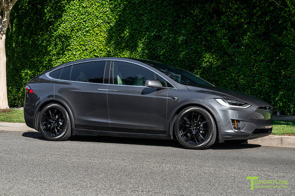 Midnight Silver Metallic Tesla Model X with Gloss Black 20 inch TSS Flow Forged Wheels by T Sportline 1