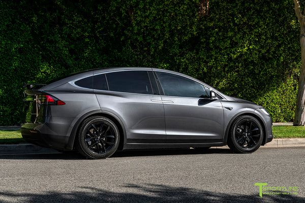 Midnight Silver Metallic Tesla Model X with Gloss Black 20 inch TSS Flow Forged Wheels by T Sportline 3