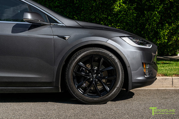 Midnight Silver Metallic Tesla Model X with Gloss Black 20 inch TSS Flow Forged Wheels by T Sportline 4