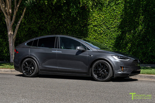 Midnight Silver Metallic Tesla Model X with Matte Black 20 inch TSS Flow Forged Wheels by T Sportline 4