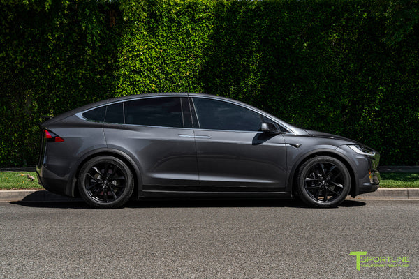 Midnight Silver Metallic Tesla Model X with Matte Black 20 inch TSS Flow Forged Wheels by T Sportline 3