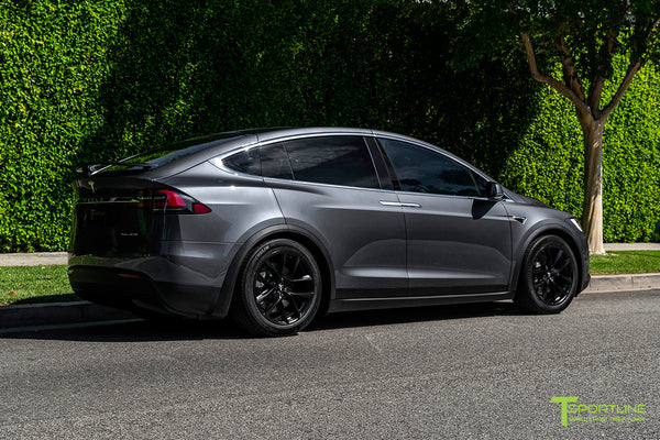 Midnight Silver Metallic Tesla Model X with Matte Black 20 inch TSS Flow Forged Wheels by T Sportline 2