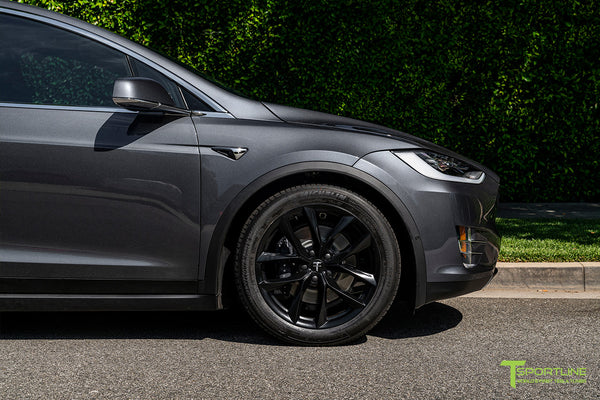 Midnight Silver Metallic Tesla Model X with Matte Black 20 inch TSS Flow Forged Wheels by T Sportline 1