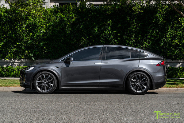 Midnight Silver Metallic Tesla Model X with Space Gray 20 inch TSS Flow Forged Wheels by T Sportline 3