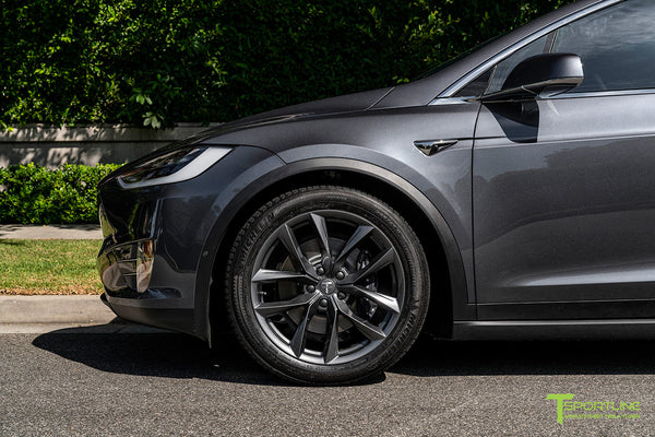 Midnight Silver Metallic Tesla Model X with Space Gray 20 inch TSS Flow Forged Wheels by T Sportline 1