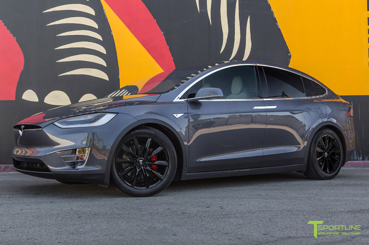 "Midnight Silver Metallic Model X with 20"" TST Tesla Wheel in Gloss Black by T Sportline"