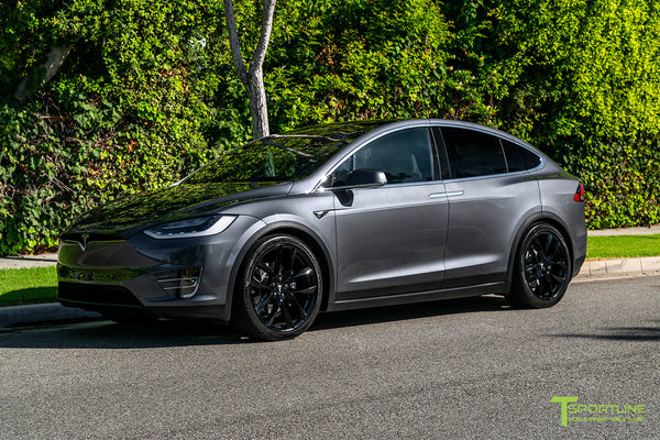 Midnight Silver Metallic Tesla Model X with Gloss Black 22 inch TSS Flow Forged Wheels by T Sportline 1