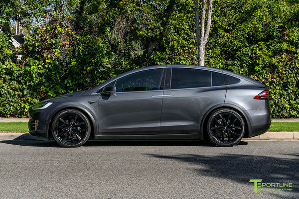 Midnight Silver Metallic Tesla Model X with Gloss Black 22 inch TSS Flow Forged Wheels by T Sportline 2