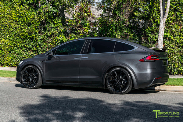 Midnight Silver Metallic Tesla Model X with Gloss Black 22 inch TSS Flow Forged Wheels by T Sportline 3