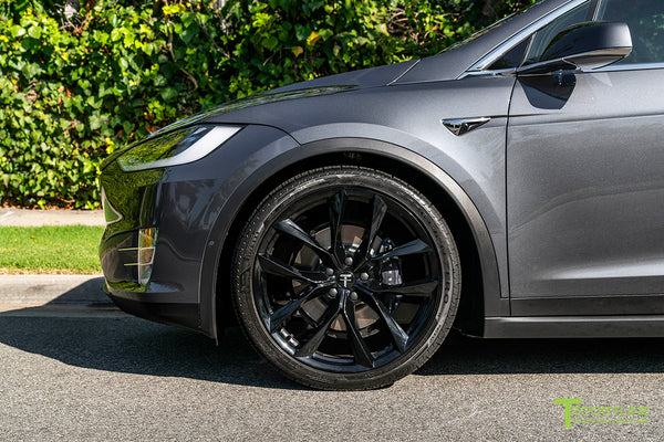 Midnight Silver Metallic Tesla Model X with Gloss Black 22 inch TSS Flow Forged Wheels by T Sportline 4