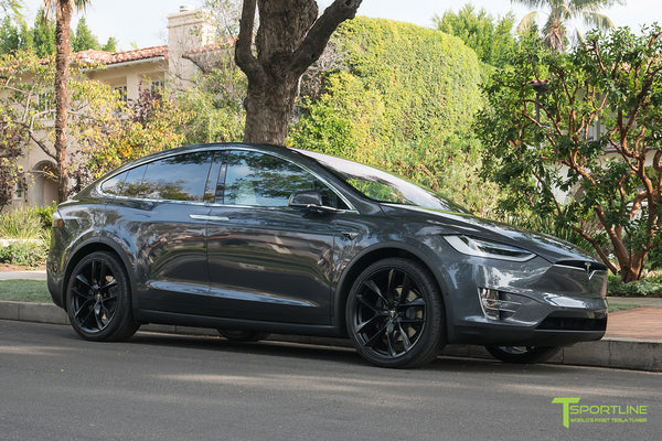 Midnight Silver Metallic Tesla Model X with Matte Black 22 inch TSS Flow Forged Wheels by T Sportline 1