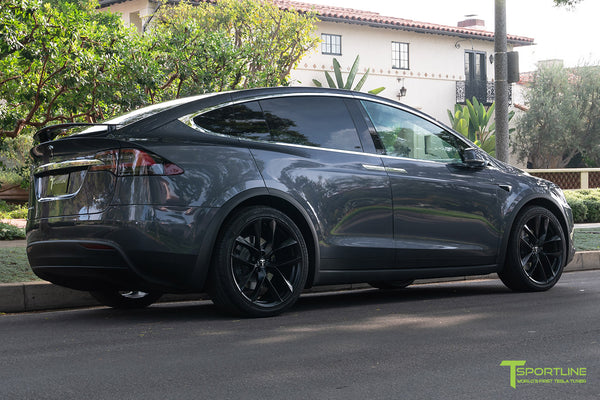 Midnight Silver Metallic Tesla Model X with Matte Black 22 inch TSS Flow Forged Wheels by T Sportline 3