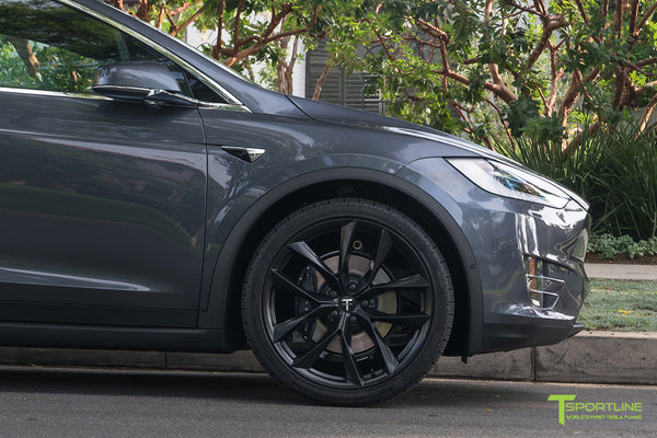 Midnight Silver Metallic Tesla Model X with Matte Black 22 inch TSS Flow Forged Wheels by T Sportline 4